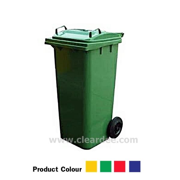 ถังขยะพลาสติกติดล้อ กทม. แบบฝาเรียบ - 120 ลิตร สีเขียว