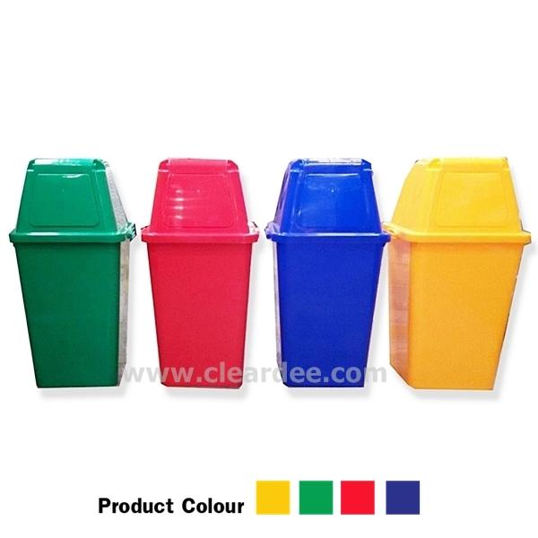 ถังขยะพลาสติก แบบบานสวิง 1 ช่อง– ขนาด 60 ลิตร สีเขียว