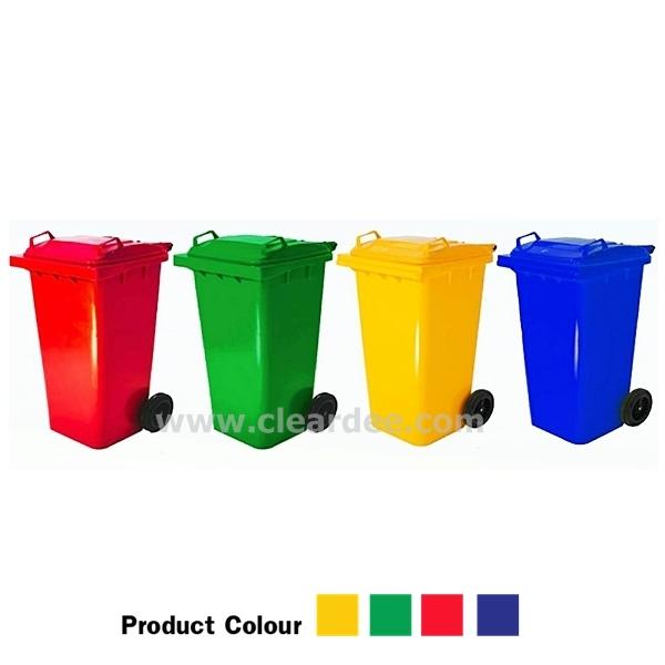 ถังขยะพลาสติกติดล้อ กทม. แบบฝาเรียบ - ขนาด 240 ลิตร สีเขียว