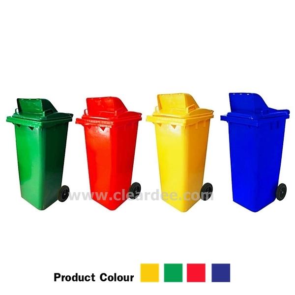 ถังขยะพลาสติกติดล้อ กทม. บานสวิง 1 ช่อง ขนาด 120 ลิตร สีเขียว