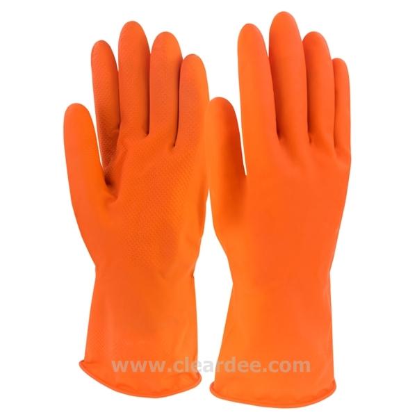 ถุงมือยาง สีส้ม