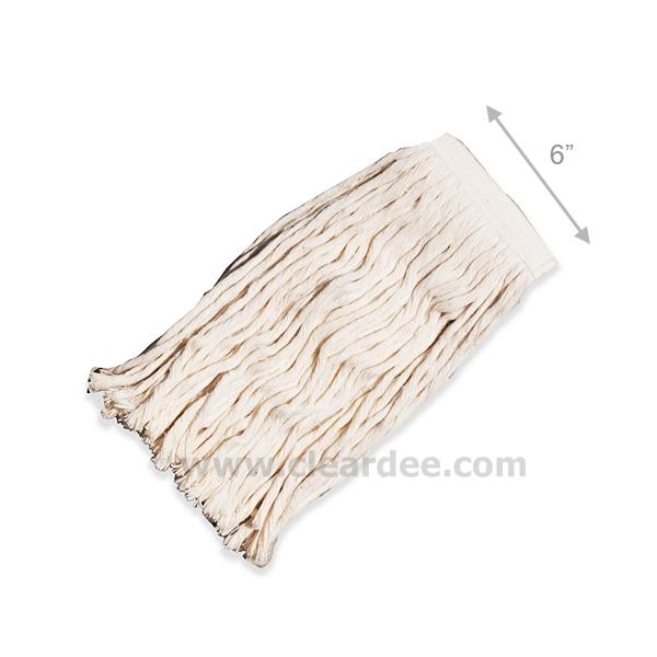 ผ้าม็อบถูพื้น ขนาด 6 นิ้ว - สีขาว (เฉพาะผ้า)
