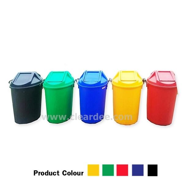 ถังขยะพลาสติกทรงกลมฝาแกว่ง - 100 ลิตร สีเขียว