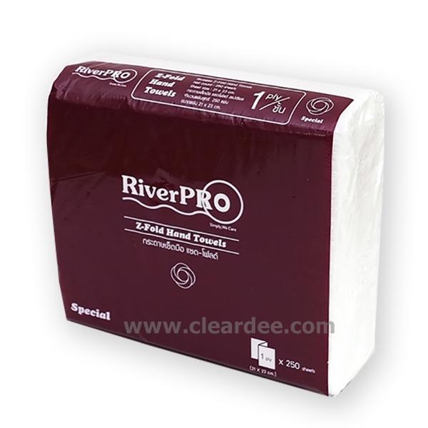 """กระดาษเช็ดมือแบบแผ่น RiverPro """" Z-Fold"""" 1 ชั้น"""