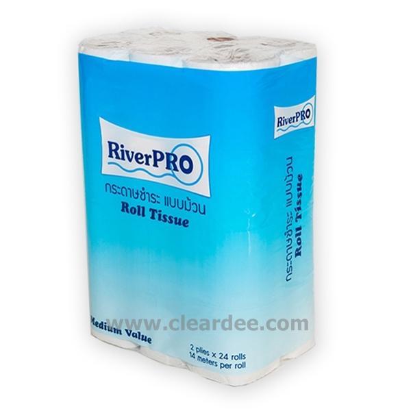 """กระดาษชำระม้วนเล็ก RiverPro """"Medium"""" 144 ม้วน  ( 14 เมตร )"""