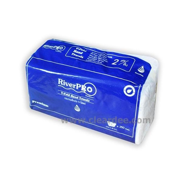 """กระดาษเช็ดมือแบบแผ่น RiverPro """"V-Fold Premium"""" 2 ชั้น"""