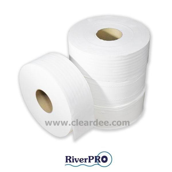 """กระดาษชำระม้วนใหญ่ RiverPro """"JRT Medium"""" 1 ชั้น 600 เมตร (แบบปรุ)"""