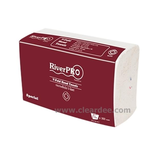"""กระดาษเช็ดมือแบบแผ่น RiverPro """"V-Fold Special"""" 2 ชั้น"""